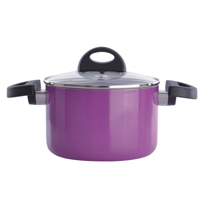 Кастрюля Berghoff Eclipse с крышкой, фиолетовая, диам. 16 см, 2 л